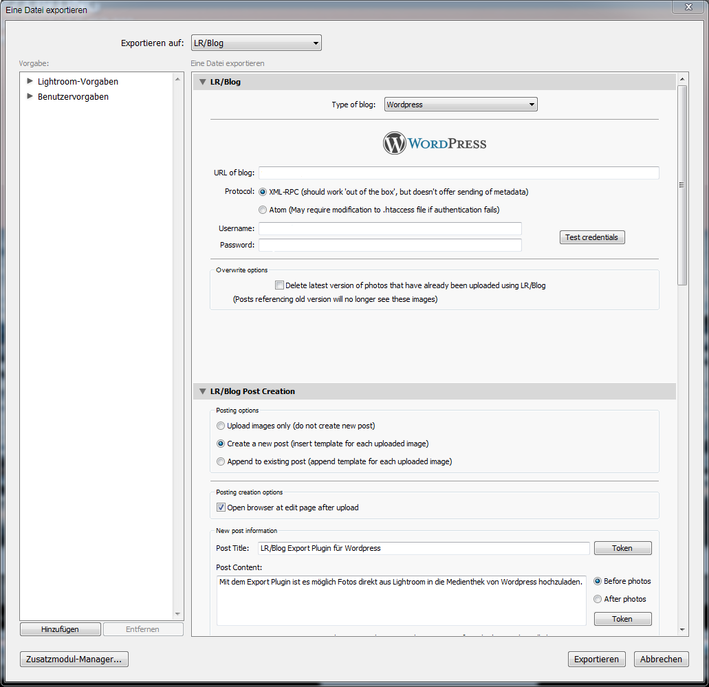 Wordpress Lightroom Plugin-Datei auswählen